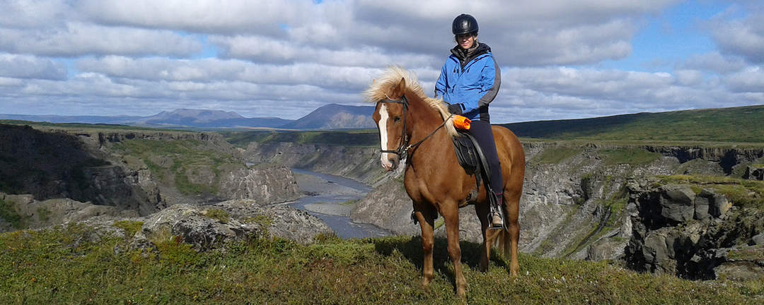 Rider på brun islandshäst med fantastisk vacker utsikt över det isländska landskapet