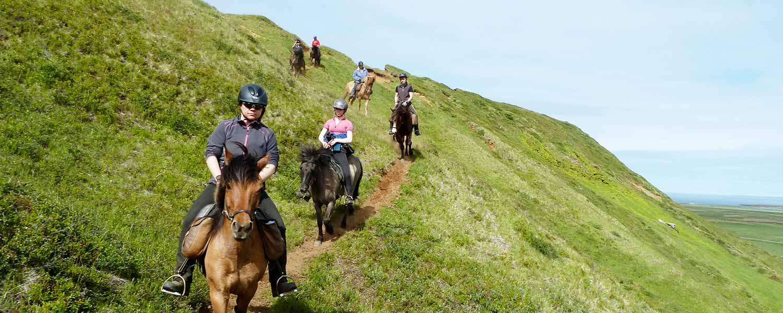 Rider på islandshäst i Saltvík i närheten av Húsavík