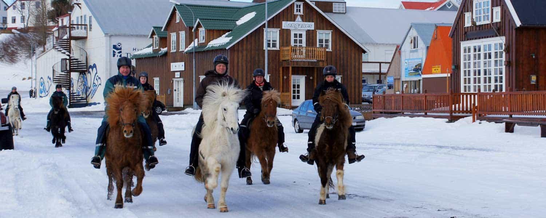 Rider på islandshäst i Húsavík på Island