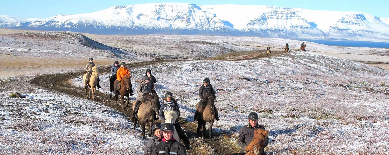 Ridsällskap som rider på islandhästar genom ett fantastiskt landskap med snötäckta berg på Island