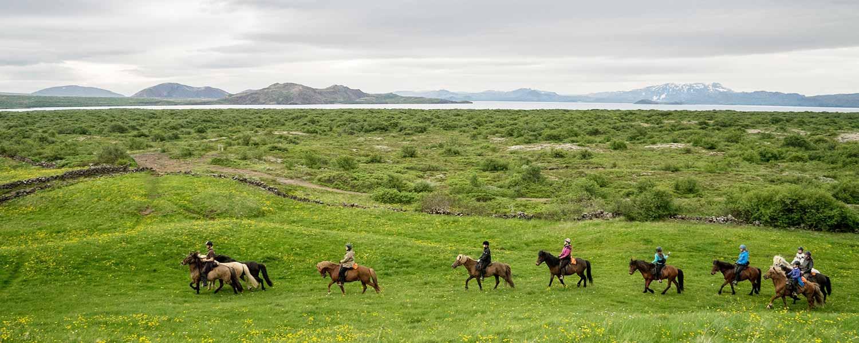 Rider västerut över Hellisheiðiplatån