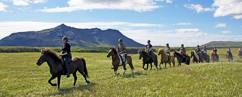Rider på islandshästar med vulkanen Hekla på Island i bakgrunden