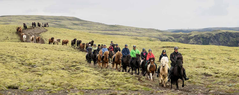 Rider på gröna kullarna vid Hrunamannahreppur