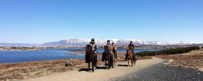 Rider med bergen i bakgrunden nära sjön Ellidaárvatn