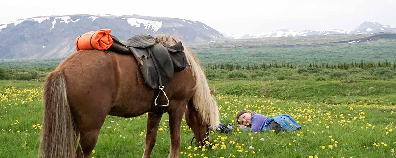 Ridresa med barn som myser med häst i gräset på Island