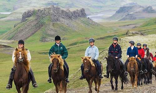 Ridsällskap och vackra vyer med grönskande berg på Island